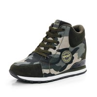 Mulher High-Top Camouflage Canvas Shoes Inside Heighten Shoes Estudante Treinamento Militar Casual Lace up Shoes.MQSS-003
