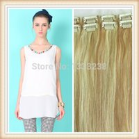 Wholesale Clip Hair Extensions Kanekalon - Wholesale-Beautiful necessities18inch 20inch 22inch 24 inch free custom straight kanekalon hair clips on hair extension 7pcs set 100g pack
