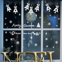 Wholesale Large Bell Decorations - Remoavble Happy New Year Merry Christmas Bell snowflakes Vinyl wall sticker Decals Window kids room decor decoration