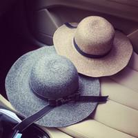 yaz şapkaları kore toptan satış-Toptan-2016 Kore Resmi Şapka İngiltere Sir Yay Ipek Hasır Şapka Kadın Yaz Saman Örgü Makale Güneş Şapka Kadınlar Tatil Şapka