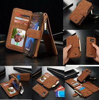 Couro Genuine Multifuncional Zipper Wallet Card Slots Stand Capa magnética desmontable para iPhone 6 6S Plus Samsung Galaxy Note 5 S6 S7 Edge