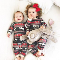 Wholesale Autumn Rompers - hot selling Christmas Family Matching Pajamas Set deer printed sets Adult Kids fashion rompers baby girls boys Nightwear Cotton top outfits