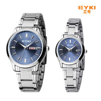 Wholesale Eyki Quartz Watch Lovers - 2017 New Eyki Men Women Business Couple Watch Stainless Steel Wrist Watches Luxury Brand Lovers Watch with Calendar montre femme Bracelet