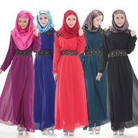 Wholesale Muslim Chiffon Dresses For Women - Long Sleeve Women Muslim Dress Islamic Abaya Islamic Clothing for Women Chiffon Dresses Sashes