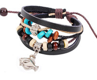 Wholesale Ethnic Charms Beads - Ocean series fish bracelet leather bracelet ethnic jewelry wholesale Europe and America style wooden bead bracelet