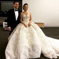 Wholesale Custom Wedding Dresses United States - United States 2016 Gorgeous Off The Shoulder Wedding Dress Long Sweetheart Embroidery Pearls Cathedral Train Puffy Wedding Dresses Overskirt