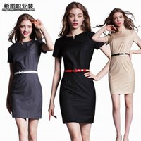 Wholesale Knee Length Womens Formal Shorts - Hot Career Ladies Formal Working Dresses 2016 Knee-length Maxi Summer PartyEvening Womens Bodycon Clothing With BelG 2000 wind