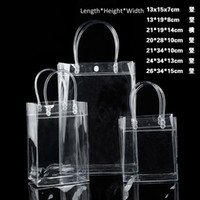 Wholesale Wholesale Clear Pvc Handbags - 10pcs lot Transparant PVC gift tote packaging bags with hand loop, clear Plastic handbag, closable garment bag, free shipping