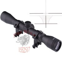 Wholesale Rifle Hunting Deer - Free shipping New 4X32 Hunting Tactical Rifle Optic Scope Sight Air Soft outdoor Optics Sniper Deer Scope+Rail Mounts