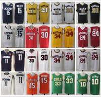 Wholesale Uconn Basketball - Men Uconn Huskies College Jersey Wake Forest 21 Tim Duncan Chris Paul 15 Kemba Walker Buddy Heild Oklahoma Sooners Basketball jerseys Cheap