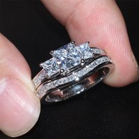 Wholesale Three Heart Rings Women - wholesale Fashion Square Three-stone Simulated Diamond cz gemstone Rings Sets Jewelry 10KT white gold filled Wedding rings for women SZ 5-10