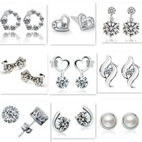 Wholesale Wholesale Silver Bow Earrings - Mix style 925 silver plated earrings natural crystal wholesale fashion jewelry for women heart crown bow stud earrings