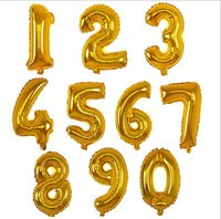 Wholesale numbered helium balloons resale online - New inch Gold Silver Number Foil Balloons Digit Helium Balloon wedding Birthday balloon inflatable festa casamento Party Supplies
