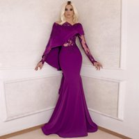 Wholesale Red Stretch Lace Shirt - Hot Sale Gorgeous Arabic Evening Dress 2017 Long Sleeve Gowns Lace Mermaid Style Stretch Satin Purple Women Formal Evening Gowns