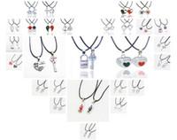 colliers de style pirate achat en gros de-28 mélange de style lettres amant colliers corde chaîne cristaux coeur romantique bijoux pirate médaillon clé pour amoureux cadeau couple collier pendentifs