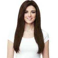 peluca de color marrón oscuro flequillo al por mayor-Peluca de pelo recto largo y rizado barato peluca lateral completa peluca sintética marrón oscuro peluca de moda de Europa 100 g