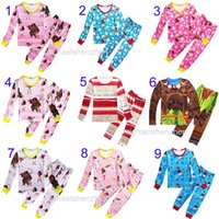 Wholesale Wholesale Winter Pajamas - 10 Style children Moana Suits Pajamas Girls boys Cotton cartoon long Sleeve T-shirt+Pants 2pcs sets baby kids clothes B001