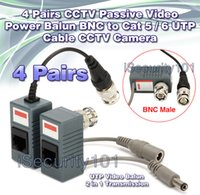 4 Pairs BNC a RJ45 CAT5 Cavo video + Power Balun connettore per telecamera CCTV