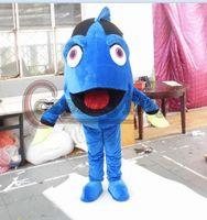 Wholesale Fishing Mascots - Wholesale-Blue Fish Mascot Cartoon Goldfish Mascot Costume For Adult Unisex Halloween Custom Made