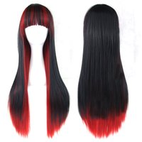 Wholesale Japanese Lolita - 70cm straight black and red ombre cosplay lolita wigs Japanese Animation cosplay wigs Newest design