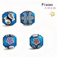 Wholesale Silver Pandora Spacer Beads - Free shipping 925 sterling silver 12pcs Zodiac vintage crystal pendant DIY spacer beads fit Pandora Bracelets & Bangles jewelry