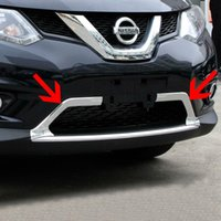 2 pezzi ABS Chrome anteriore inferiore Grille Cover per 2014 2015 Nissan X-Trail T32 X Trail Rogue Anteriore Griglia Trim Accessori auto