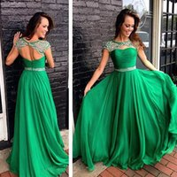 Wholesale Dress Neck Designs Out Lines - Emerald Green 2016 Long Sexy Beaded Dress Long Formal Prom Evening Party Gowns Illusion Crew Neck Beaded Cut Out Open Back Sexy Design