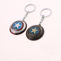 Wholesale Cartoon Movie Accessories - Super Hero Marvel Captain America Shield Key Chain Keyring Necklace Avengers Keychain Cartoon Moive Jewelry Accessories
