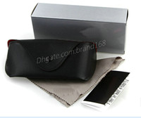 Wholesale Wholesale Cloth Boxes - FREE SHIPPING NEW SUNGLASSES BLACK CASE COVER  WITH BOX AND CLEANING CLOTH TOP QUALITY FAST SHIP.