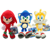 Wholesale Sonic Hedgehog Wholesale - New Arrival Sonic the hedgehog plush toys 3styles Sonic Tails Knuckles the Echidna Stuffed Plush dolls 23cm 25cm 66wt