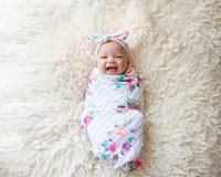 Wholesale Newborn Photography Rabbit - Baby swaddle blanket and rabbit ear headband set newborn floral printed photography props babies stripe muslin swaddle wrap R0132