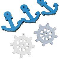 Wholesale Anchor Embellishments - 50pcs New Wooden Sea Anchor Wheel Nautical Craft Scrapbook Embellishment Decor