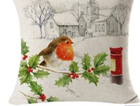 Wholesale Christmas Decorative Throw Pillows - High Quality 45 x 45cm Cute Bird Christmas Linen Square Throw Flax Pillow Case Decorative Cushion Pillow Cover Happy Xmas Gifts