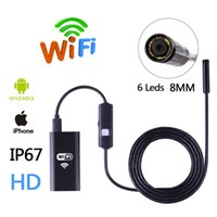 Wholesale Endoscope Camera Wireless - HD Wifi Wireless Endoscope Snake Inspection Camera 8MM Lens IP67 Waterproof Borescope Support iOS iPhone Android 1m Length Cable