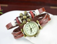 Wholesale Petals Direct - Free shipping Priced direct selling new Hot hot style for women leather watch Roman header strap watch Six petals antique watch