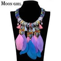 Wholesale flower rope necklace online - Crystal flower statement necklace classic fashion Bohemia jewelry display Rope Chain Feather pendant Choker necklace for women