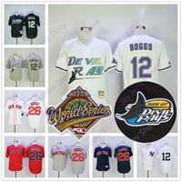Wholesale New Men Ray - Wade Boggs Jersey 26# 12# Flexbase Cool Base Tampa Bay Rays Mens New York Yankees 1996 World Series Boston Red Sox White Blue Red Grey
