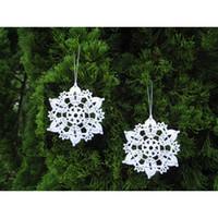 Wholesale Wholesale Crochet Ornaments - - set of 12 - Lace snowflakes - snow white crocheted snowflakes ornaments Christmas decoration - white cotton lace snowflakes sd30