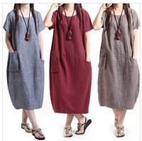 Wholesale Long Cotton Sundresses Women - Wholesale Women Dresses Casual Women Cotton Linen Short Sleeve Long Loose Maxi Dress Sundress Clothes Free Shipping