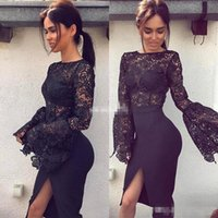 Wholesale Body Seeing - Sexy Black Lace Mermaid Evening Dresses Long sleeveless See Through Body Front Split Celebrity Special Occasion Prom cocktail Gowns