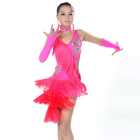 Wholesale Tassel Dance Dresses For Kids - Children Latin Dance Dresses For Sale 6 Colors Cha Cha Rumba Samba Ballroom Tango Dance Clothing Kids Dance Costume Girls Dancewear