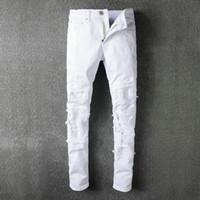 neue jeans material großhandel-SS18 Neu kommen Herbst Skinny Slim Fit Washed Beschichtung Material Loch Denim Elastische Motorrad Berühmte Marke Mode Denim Jean Einzel AMIR5056