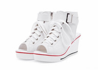 Wholesale womens wedges sneakers - 2016 womens canvas sneakers sport wedges high heels woman wedge open toe ladies platform casual shoes sandals plus size 35-43 tenis feminino
