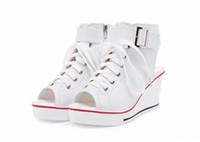 Wholesale Open Back Sneakers - 2016 womens canvas sneakers sport wedges high heels woman wedge open toe ladies platform casual shoes sandals plus size 35-43 tenis feminino