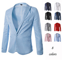 Wholesale Cheap Blue Fitted Blazer Men - Wholesale- bleiser masculino blaser brand formal cheap blazer style Dress men suit jacket 8 Colors unique,royal blue red white slim fit