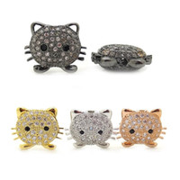 Белый CZ Cubic Zirconia Pave Micro Setting Кошки фанаты Head Bead Findings Fit DIY Kids Animal Bracelet Jewelry Spacer Beads 11 * 14mm