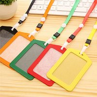 Wholesale Credit Card Holder Lanyard - 20pcs ID Badge Holder PU ID Card Accessories Holder Credit Card Bus Card Case Stationery School supplies With Lanyard Papelaria