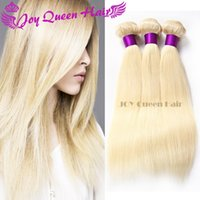 Wholesale European Straight Virgin Hair - 9a Brazilian Virgin Blonde Hair Weaves European Russian Peruvian Malaysian Indian Blonde Hair extension Straight 613# remy hair bundles