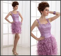 Wholesale Cheap Formal Dresses Feathers - Light Purple Short Homecoming Dresses Sequins Dress Crystals Feather Sweet Elegant Formal Event Dress Cheap Gown Custom Quality Sweetheart