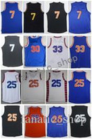 Men Basketball Retro # 7 ANTHONY # 25 ROSE # 30 KING # 33 EWING Nero Orange Blue White Throwback Maglie cucite con nome giocatore